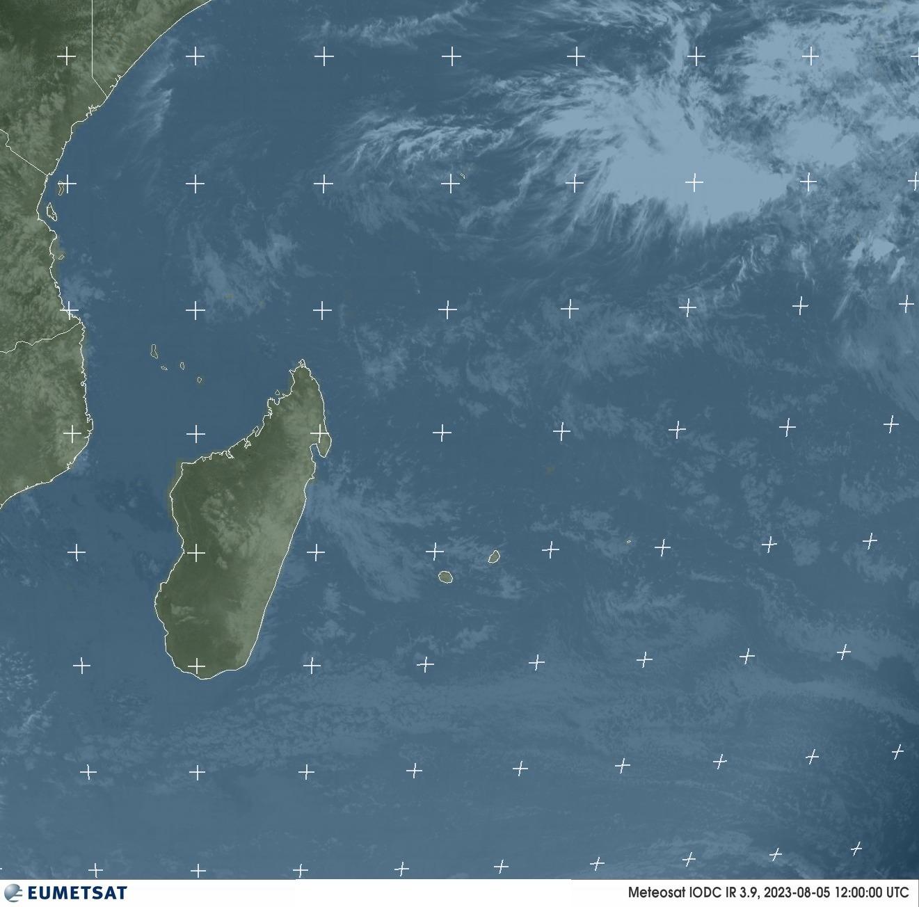 Meteosat - infrarød : Réunion, Mauritius, Madagaskar, Komorene