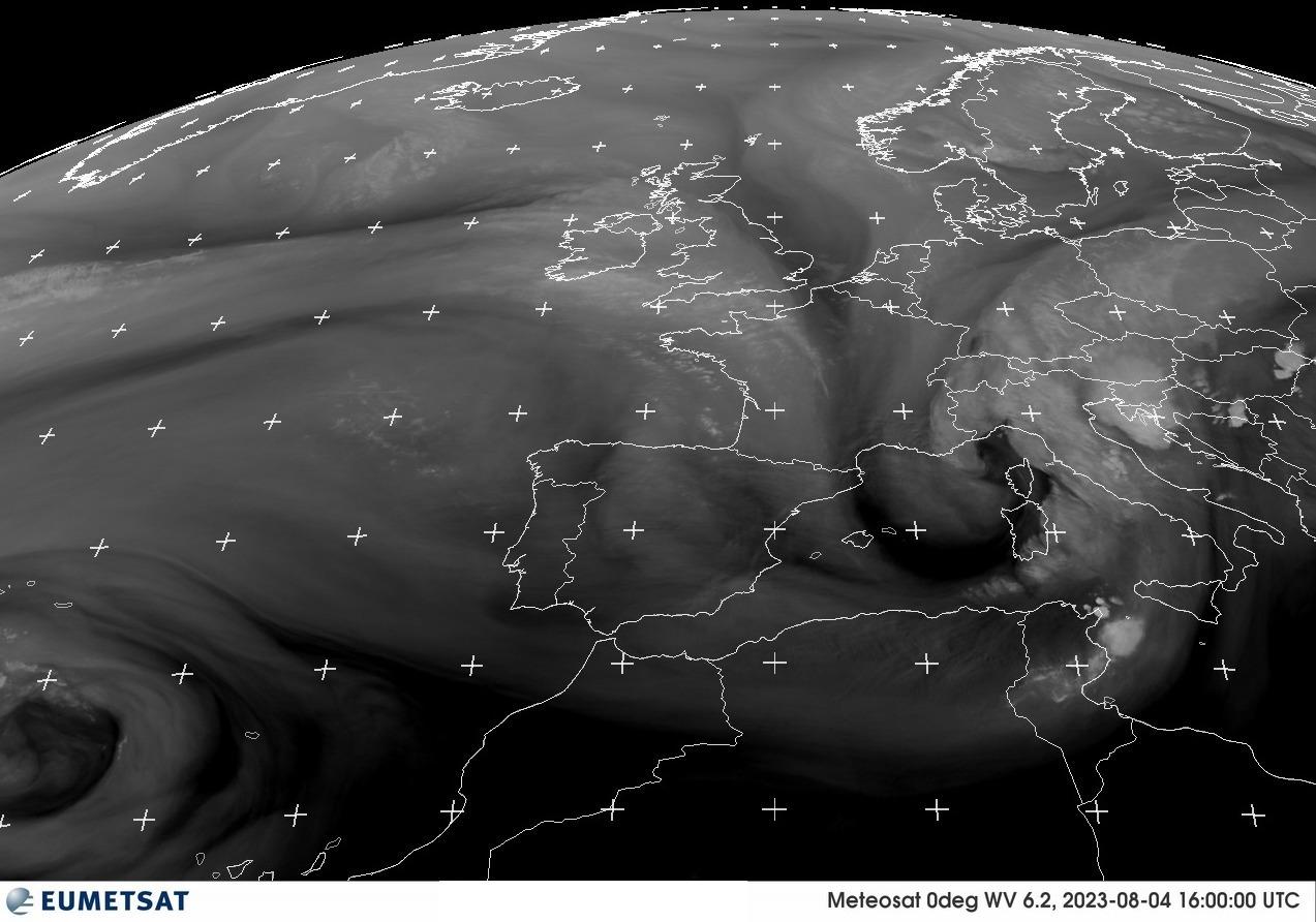Imagen del meteosat del vapor de agua